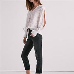 NWT Lucky Brand white star tie front top, size M